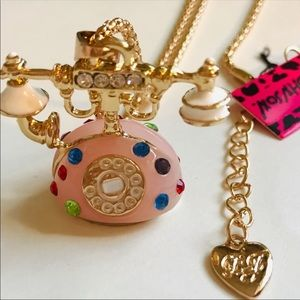 Retro Pink Phone with Crystals Necklace